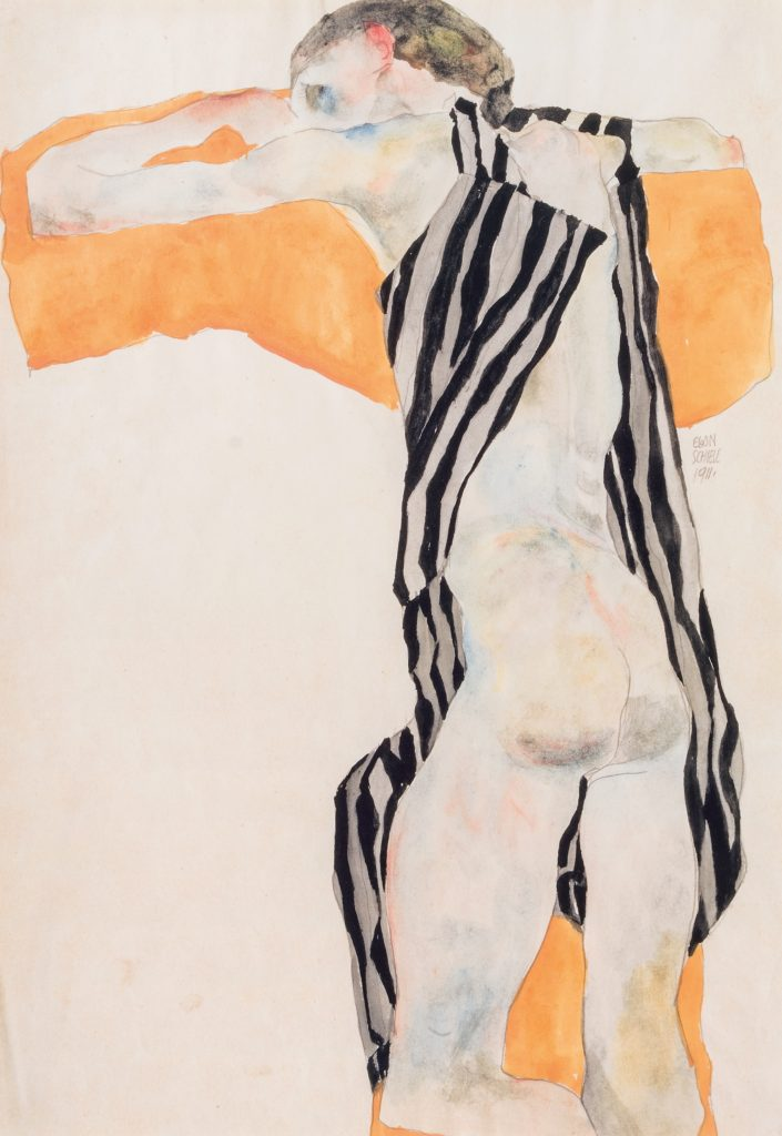 Egon Schiele drawing - Reclining Nude Girl in Striped Smock
