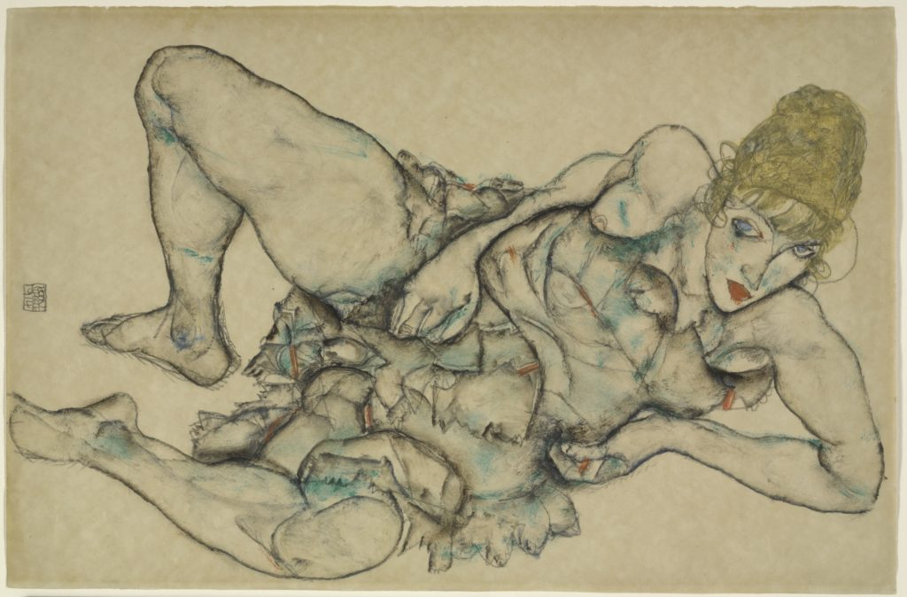 Drawing by Egon Schiele - Reclining Woman with Blonde Hair,