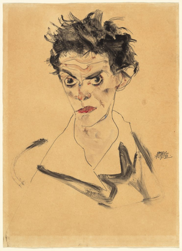 Drawing by Egon Schiele - Self-Portrait