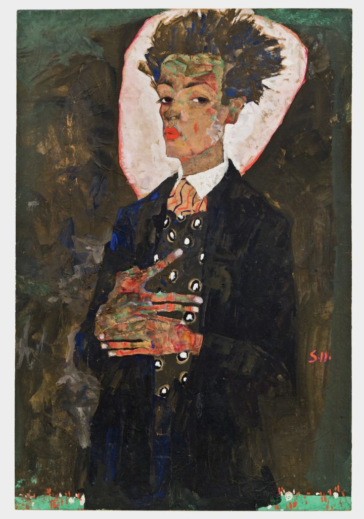Drawing by Egon Schiele - Self-Portrait with Peacock Waistcoat Standing