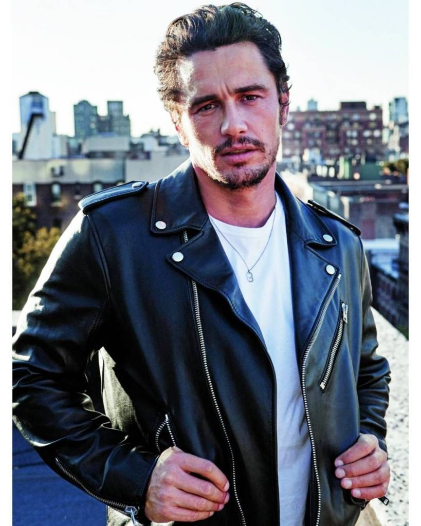 James Franco Wearing a Black Leather Motorcycle