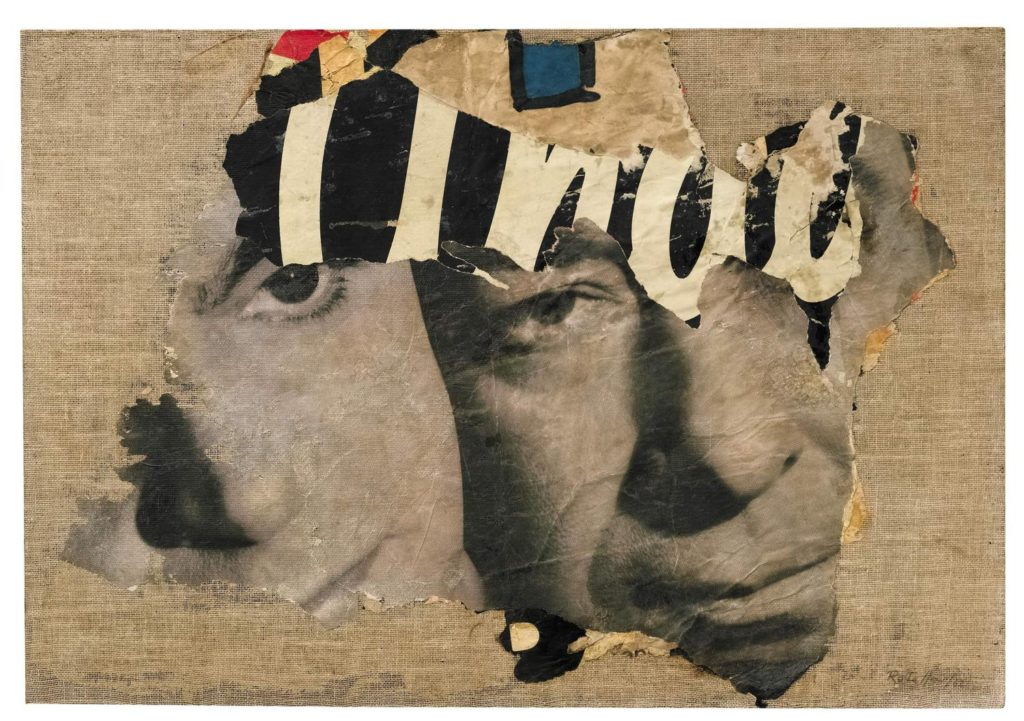 The Two Faces Collage by Mimmo Rotella