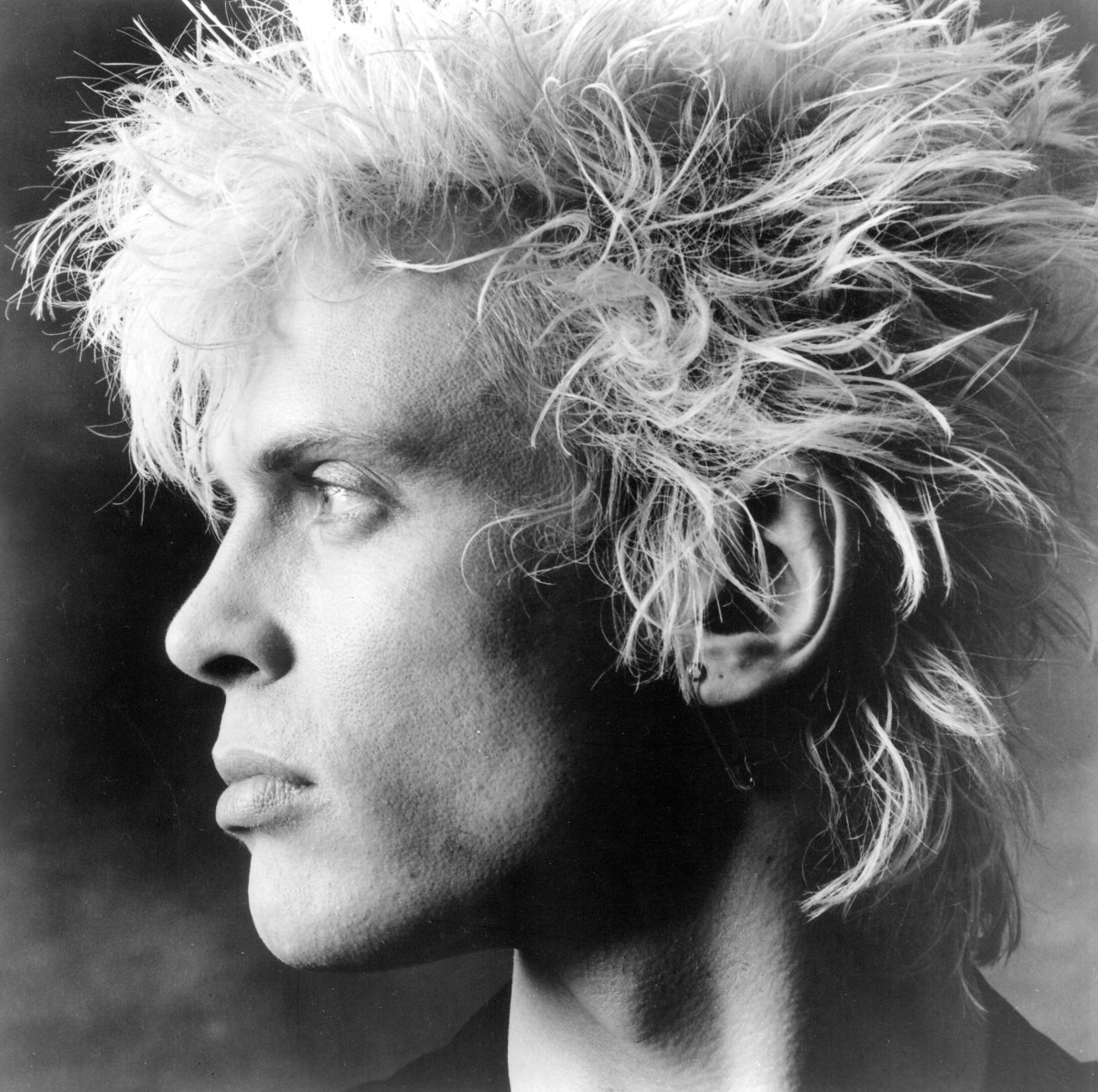 Billy Idol profile in black and white