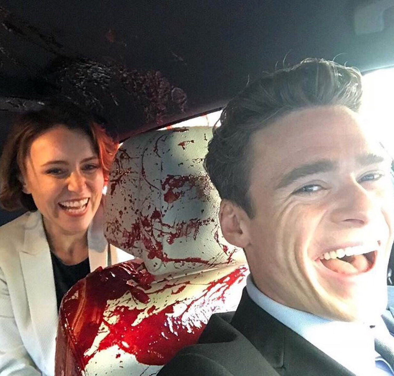 Keeley Hawes and Richard Madden bloody car seat