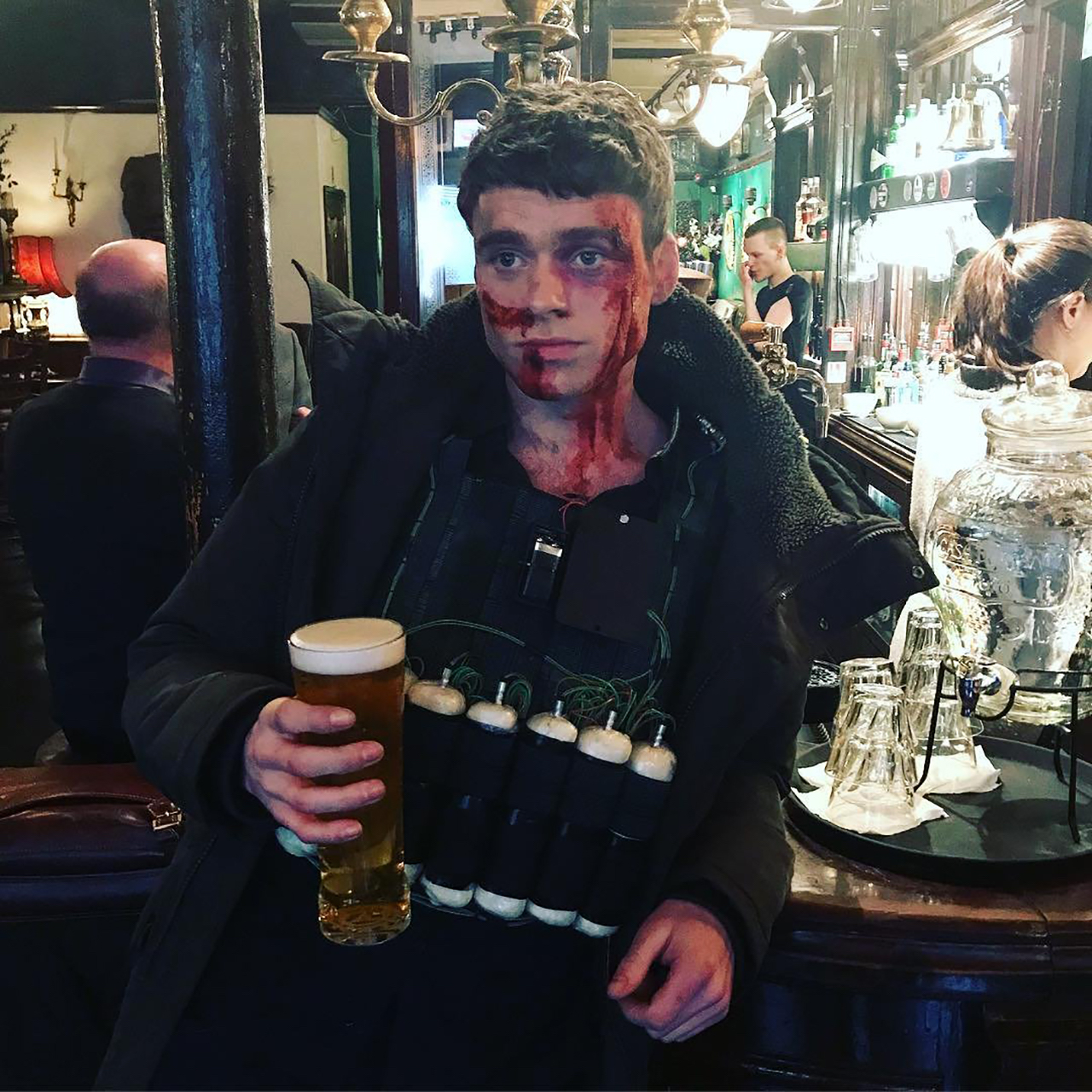 Bloody face Richard Madden beer body bombs