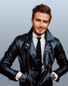 Handsome David Beckham Wearing a Tie, White Shirt and Leather Motorcycle Jacket