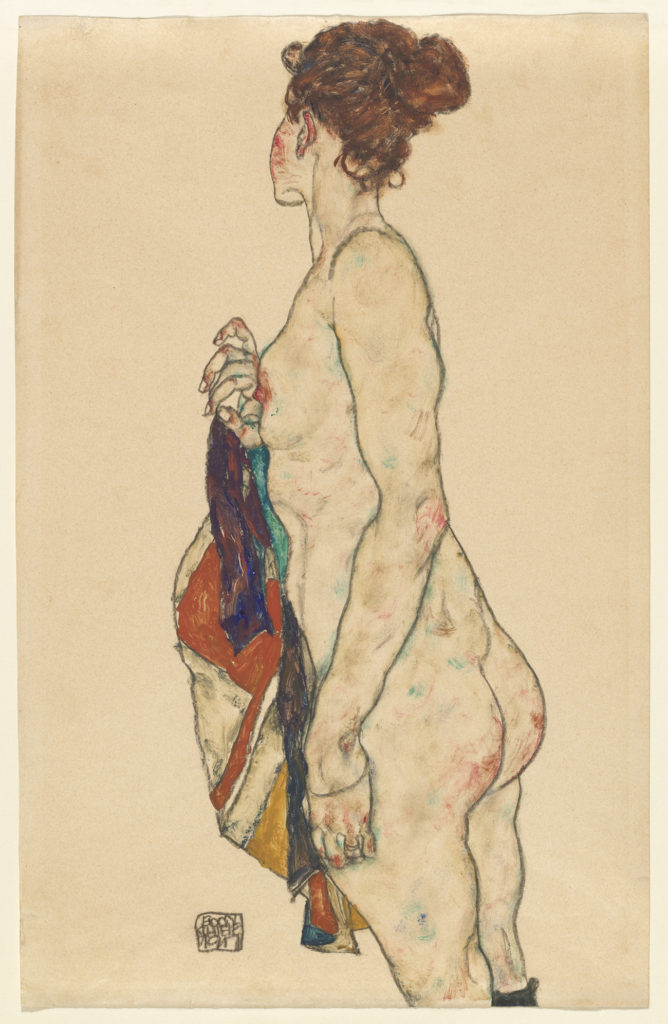 Egon Schiele - Standing Nude with a Patterned Robe
