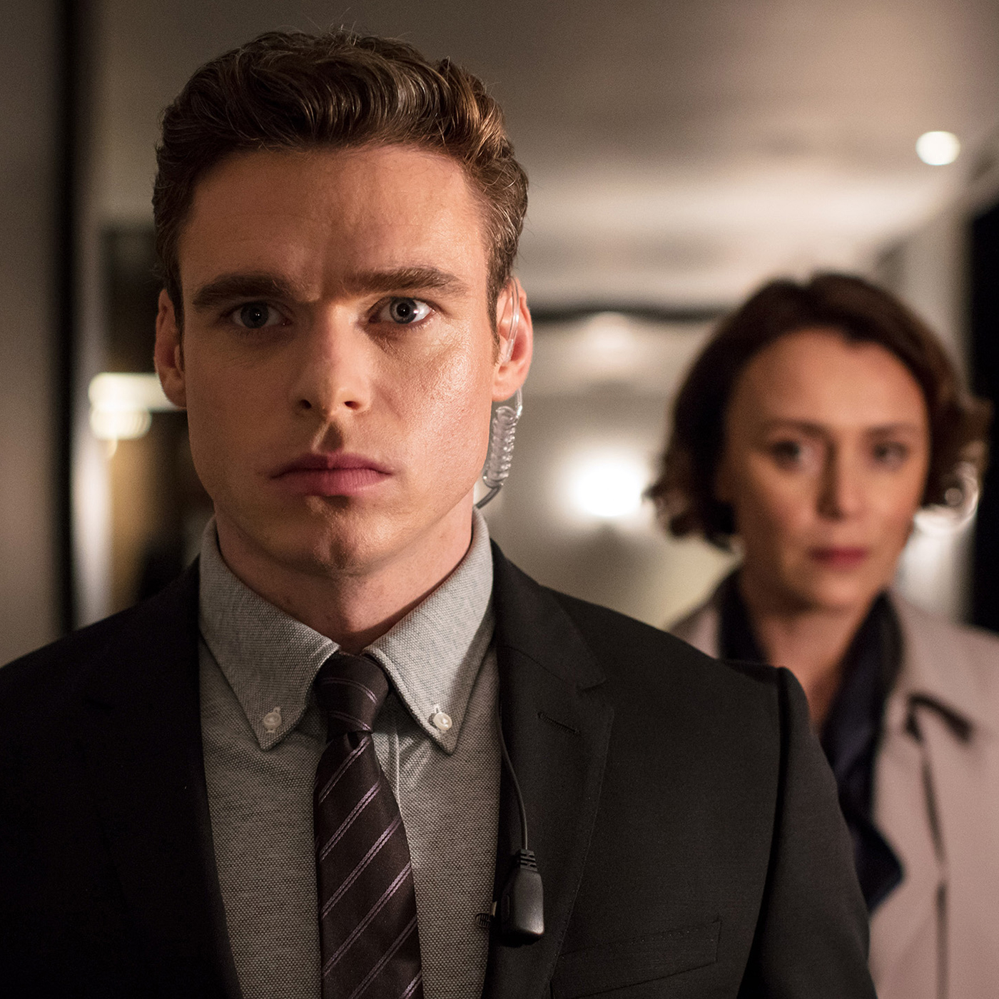 Richard Madden and Keeley Hawes scene from Bodyguard