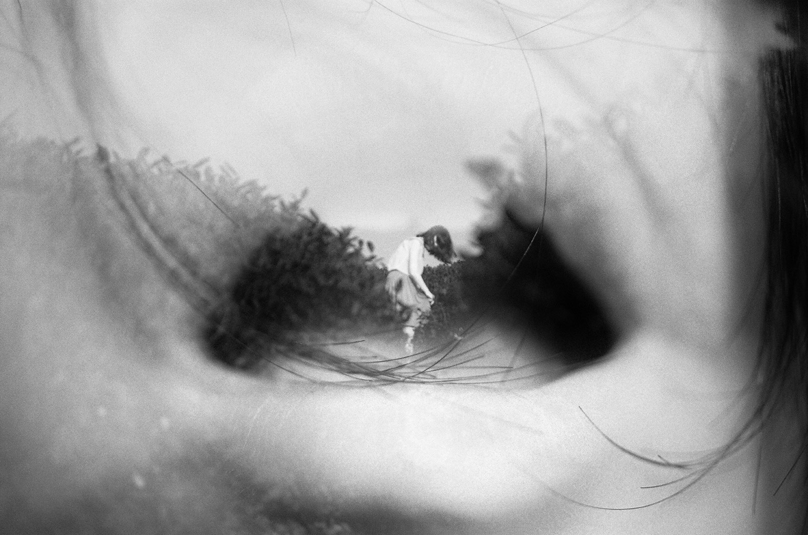 double exposure of an open mouth and a girl dancing by Li Hui