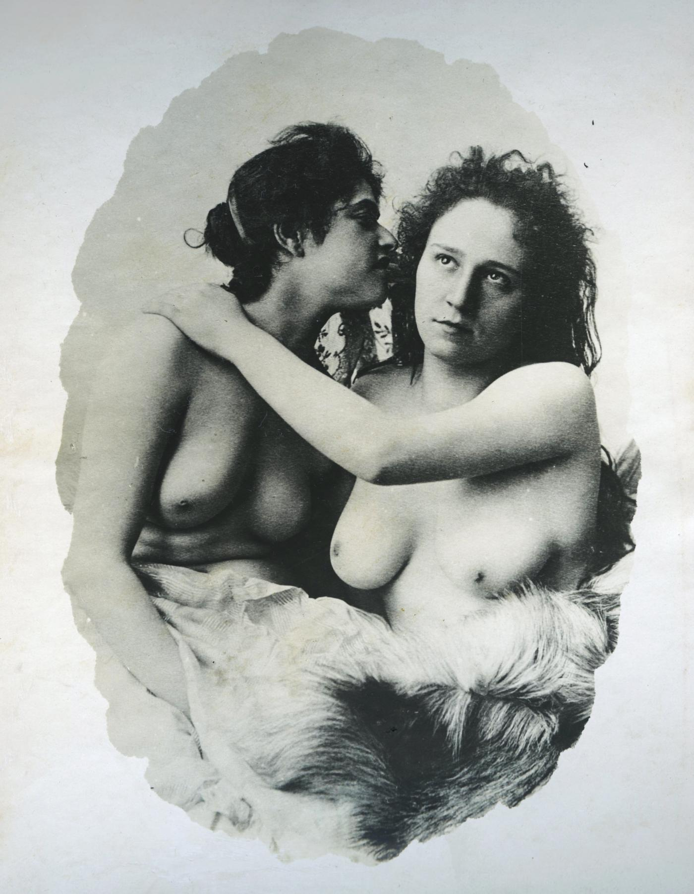 vintage photo of two topless woman at a brothel