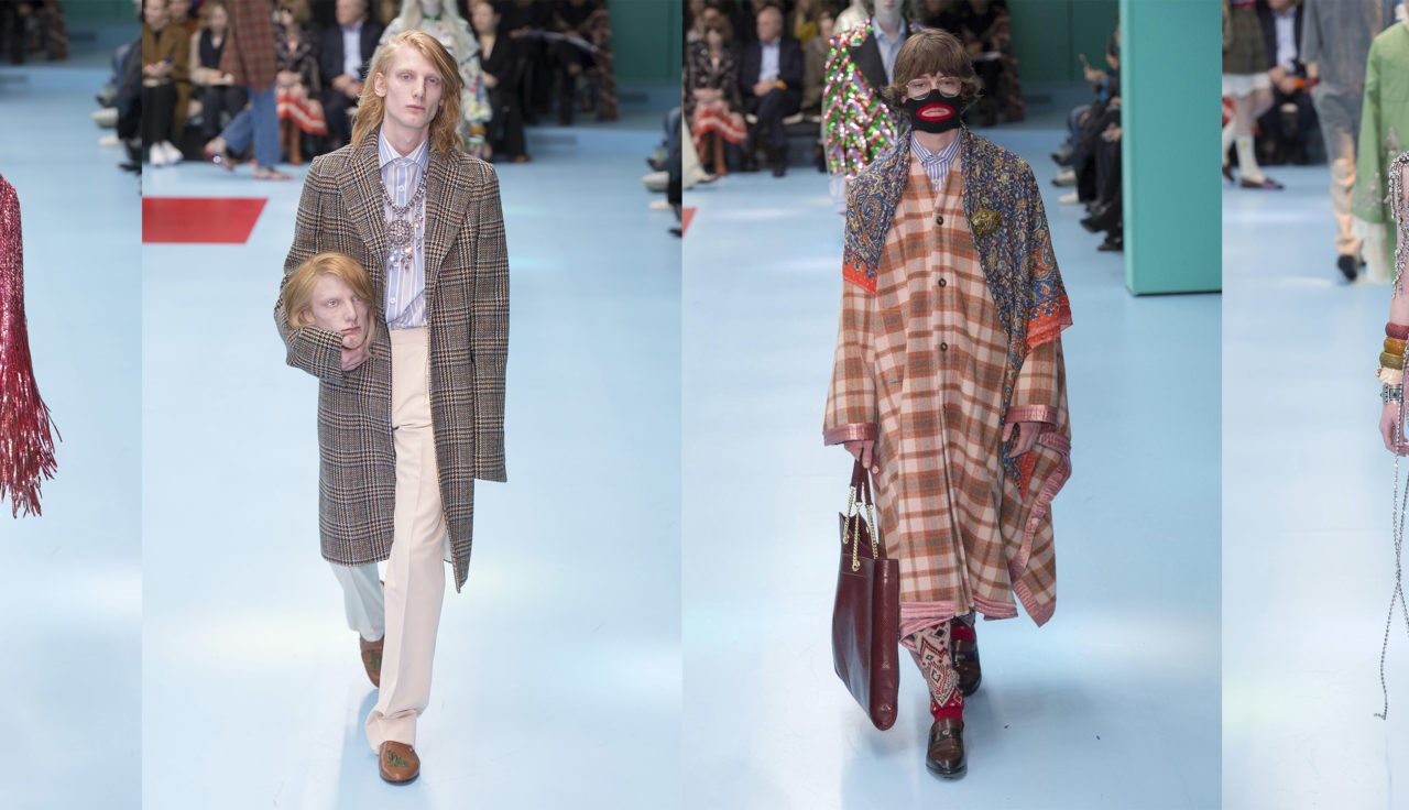Most Provocative Fashion Designer Of The Year 2019 Alessandro Michele Photo Of Four Models With One Of The Model Holding A Head Provokr