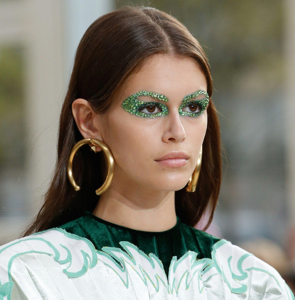 Supermodel Kai Gerber-Green Eyemake up by Pat McGrath for Valentino Collection