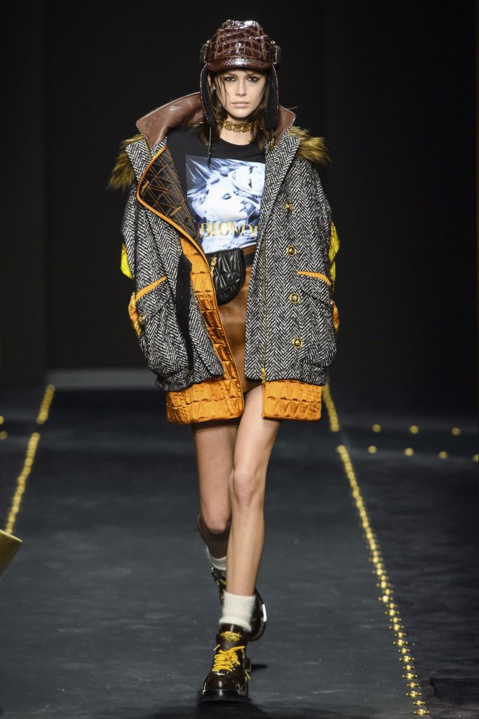 Kai Gerber On the runway-Versace 2019 Fall Collection -wearing brown hat and punk look