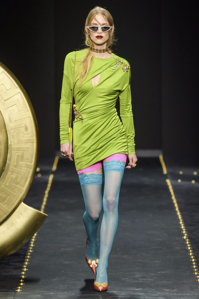 Versace Collection Spring 2019 Runway-Courtney Love Grunge Look-Model with Light Blue Stockings