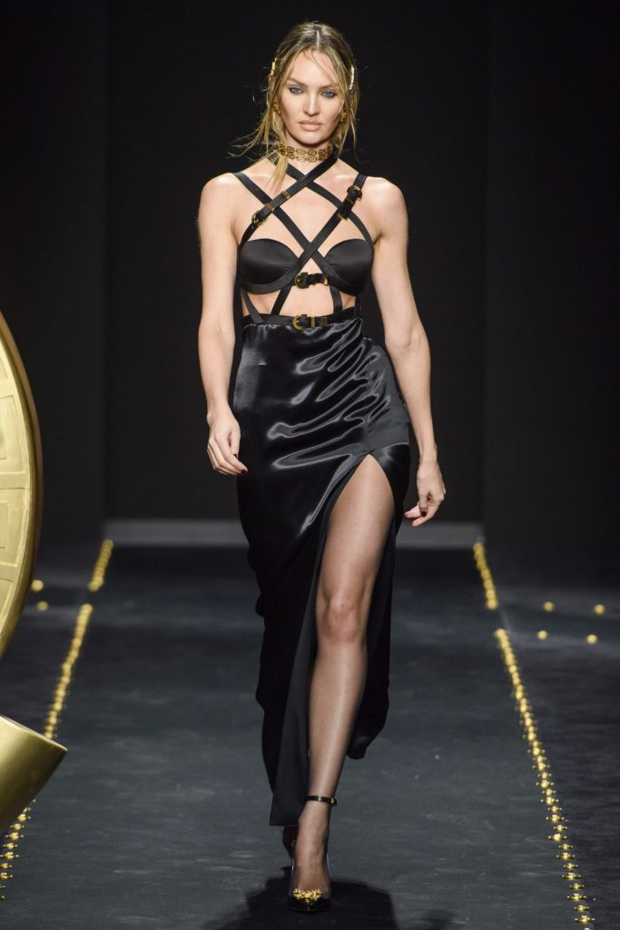 Versace Fall 2019 Runway Show-Model wearing sexy bondage dress